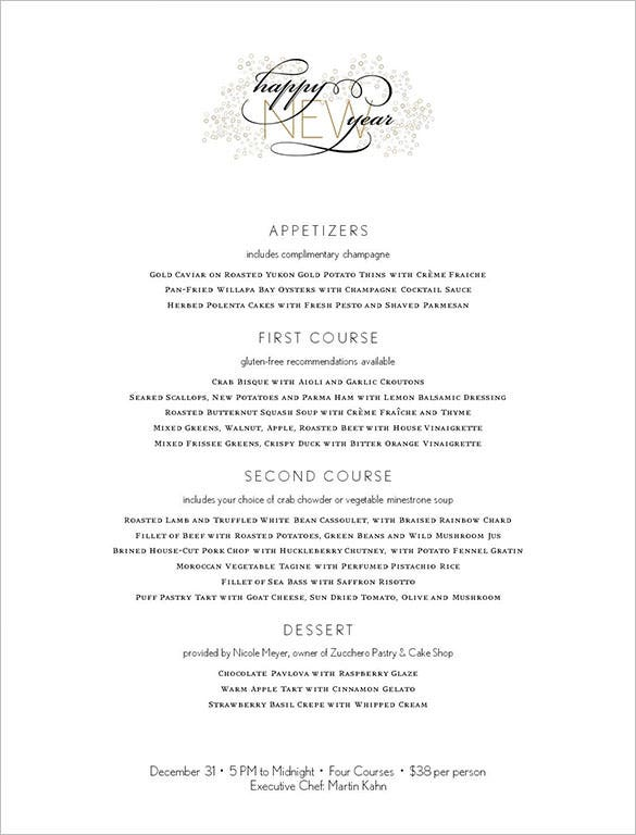 elegant new years menu template editable
