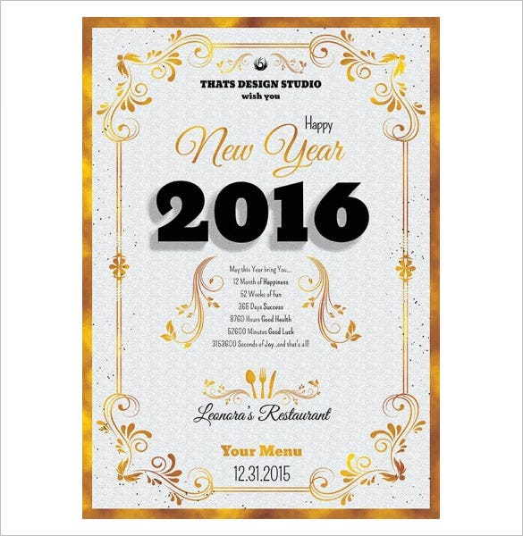 4 photoshop psd files new year menu template