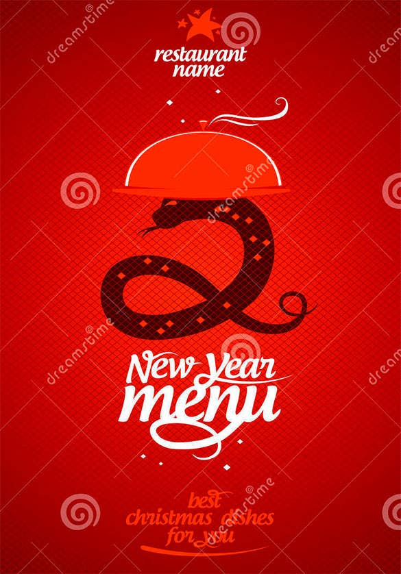 awesome new year menu card design template