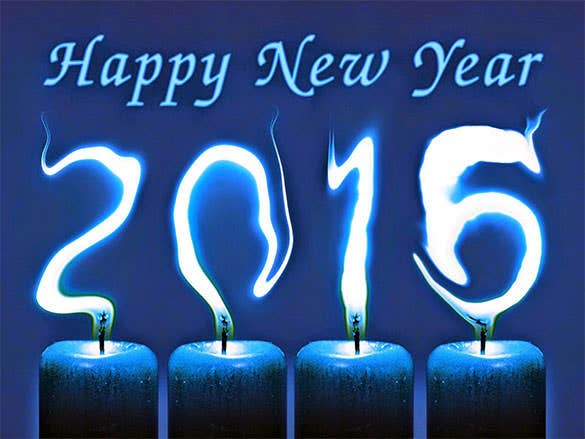 happy new year 2016 blue candle fire