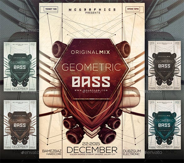 geometric bass flyer template
