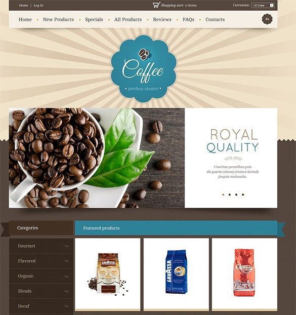 coffee restaurant zencart theme