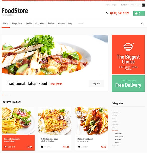 food store restaurant zencart template