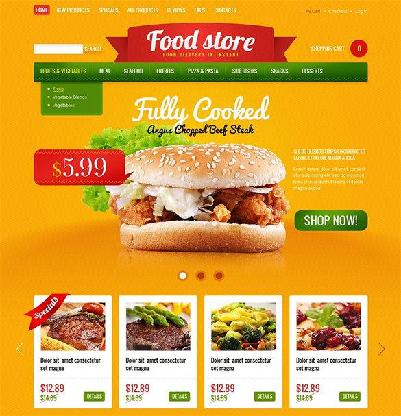instant food dellivery restaurant zencart template