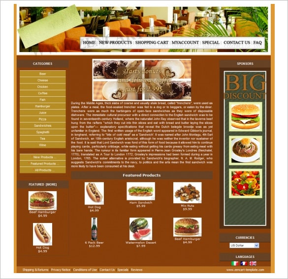 pretty restaurant zencart theme