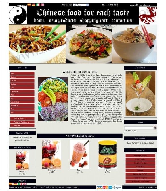 chinese restaurant zencart template