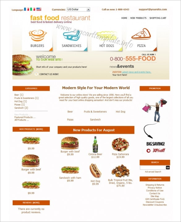 food restaurant online zencart theme