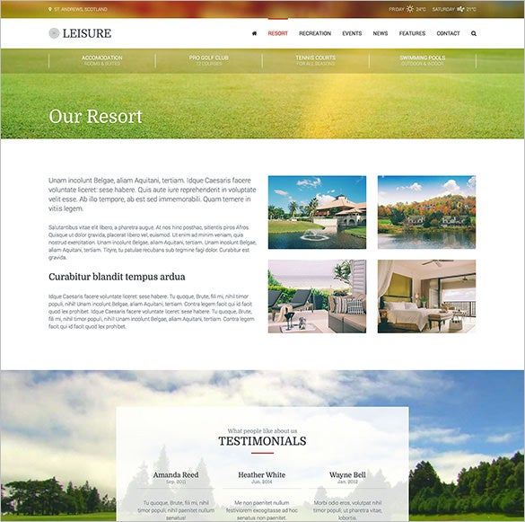 hotel resort spa wordpress html theme