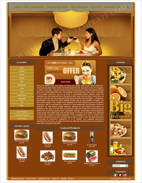 romantic restaurant zencart theme