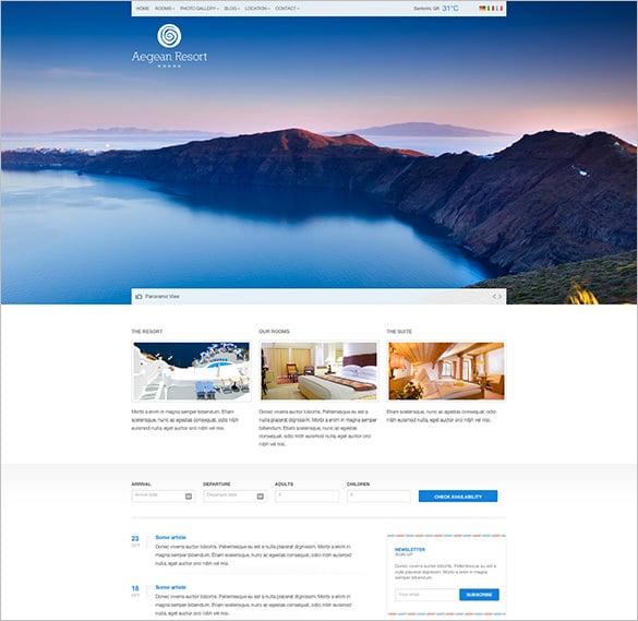 aegean resort responsive hotel html5 template