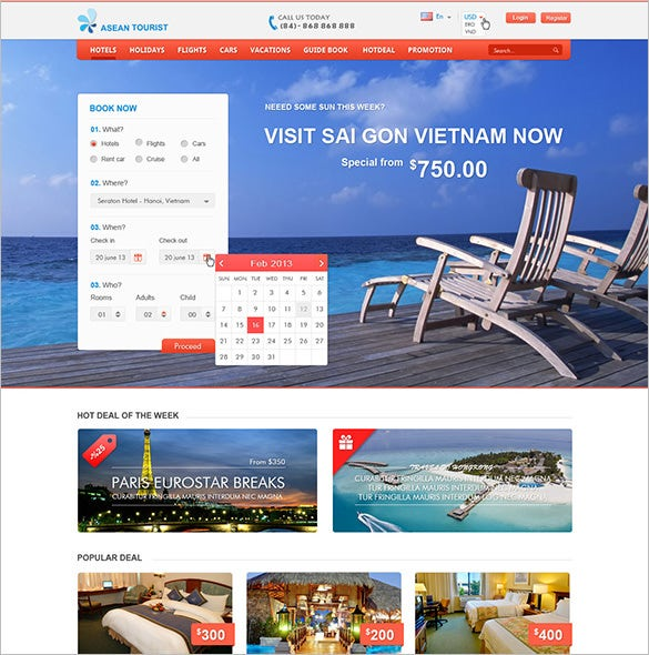 hotel travel booking site html5 template
