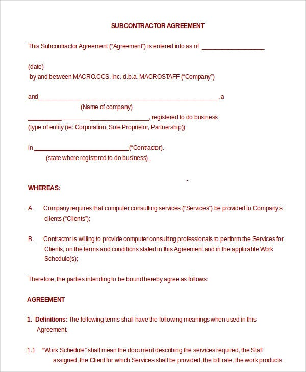 Subcontractor Agreement 11 Free Word Pdf Documents Downlaod