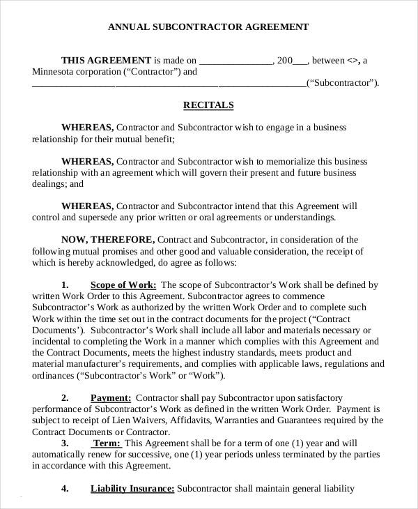 subcontractors agreement template - subcontractor agreement 11 free word pdf documents
