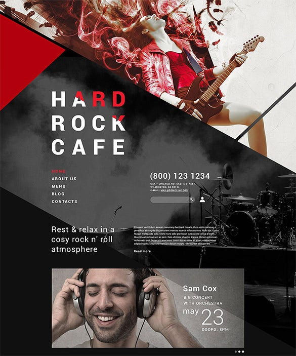 hard rock restaurant php joomla template