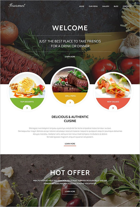 gourmet restaurant php wordpress theme