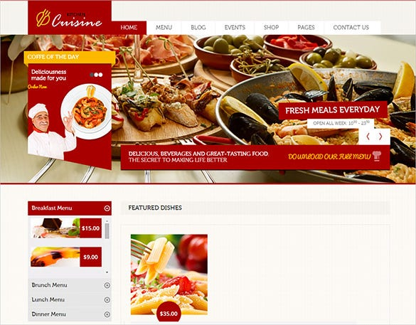 kitchen cuisine restaurant php html theme