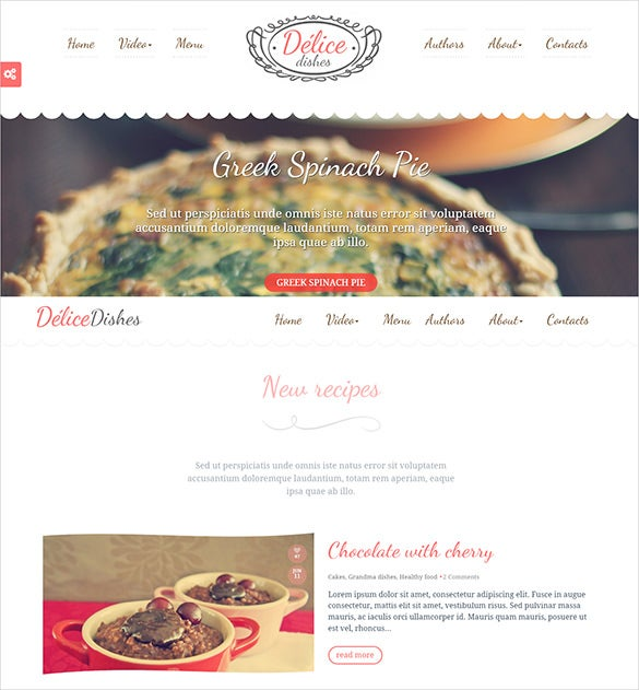 cook press restaurant php wordpress template