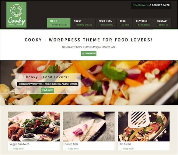 cooky restaurant php wordpress template