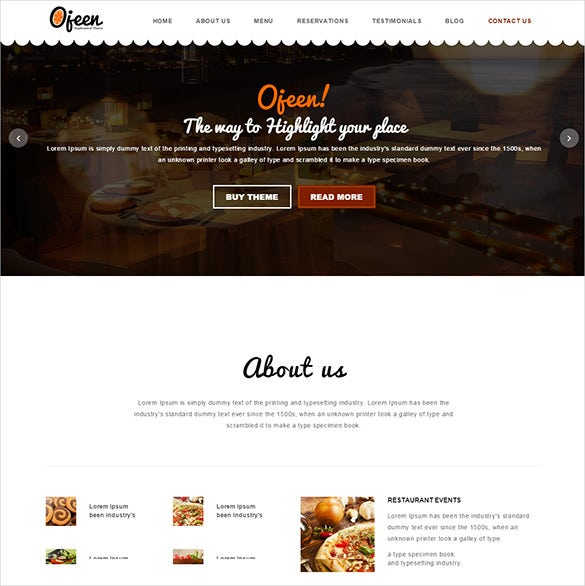 excellent restaurant php html template
