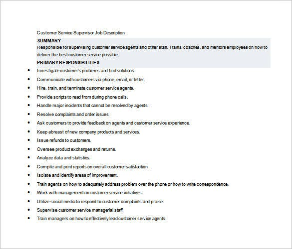 10 supervisor job description templates free sample example