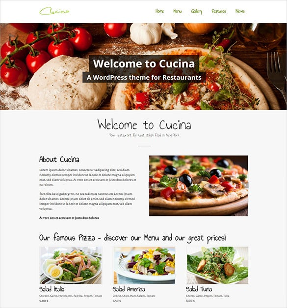 pretty restaurant php wordpress theme