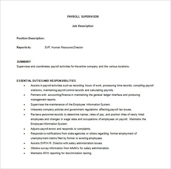 payroll supervisor job description template word format