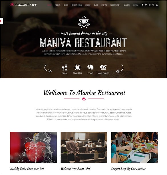 famous restaurant php wordpress template