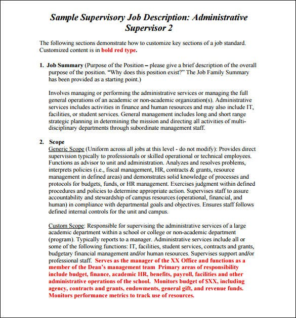 sample administrative supervisory job description template