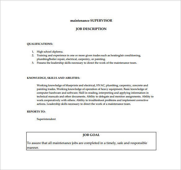 sample maintenance supervisor job description pdf format