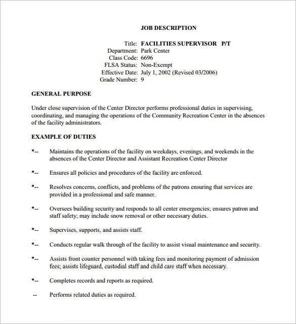 facilities job description template pdf format example