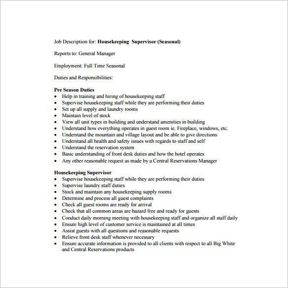 housekeeping supervisor job description example pdf download