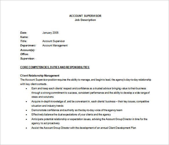 Office Supervisor Job Description. Retail Customer Service