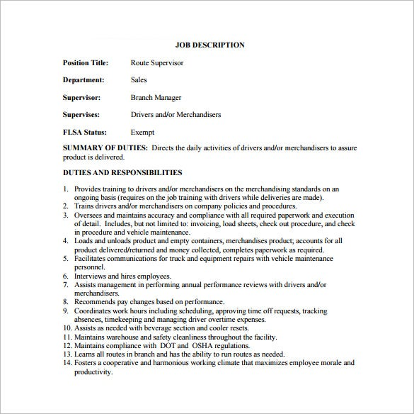 download route supervisor job description template pdf sample