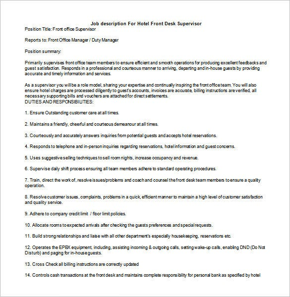 10 Supervisor Job Description Templates Free Sample Example – Supervisor Job Description
