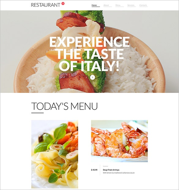 responsive restaurant bootstrap website theme