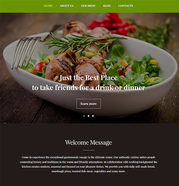 premium restaurant bootstrap wordpress template