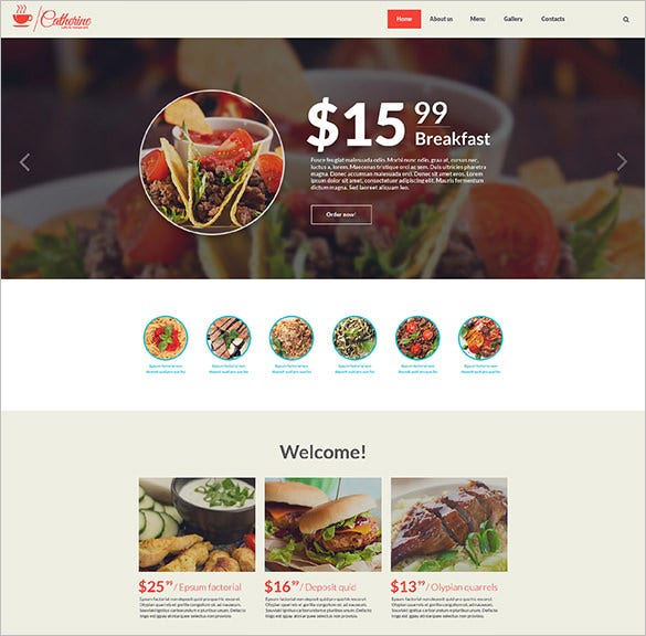 cafe restaurant bootstrap website template