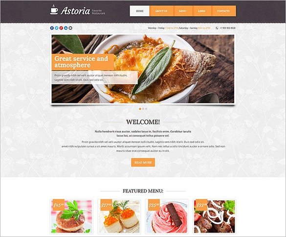 responsive cafe restaurant bootstrap website template