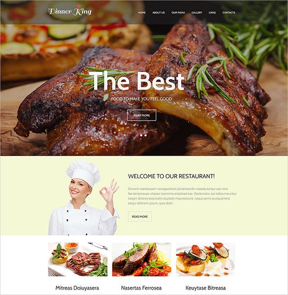 premium restaurant bootstrap website template