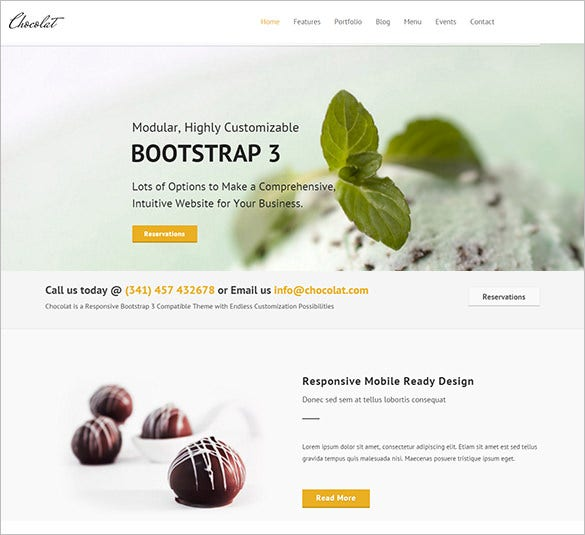 customizble restaurant bootstrap theme