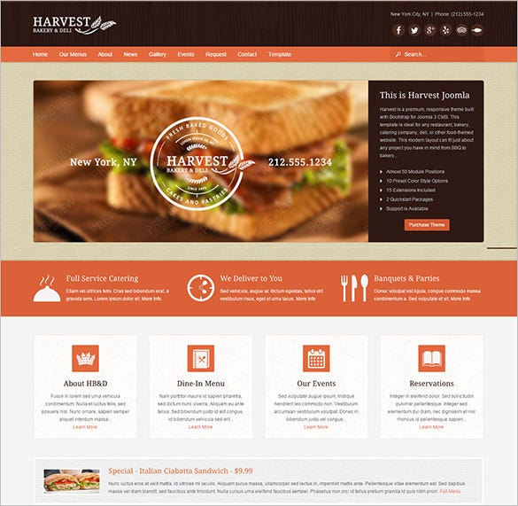 harvest restaurant food bootstrap joomla theme