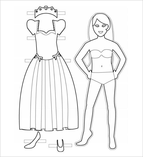 Princess Paper Doll To Color PDF Download