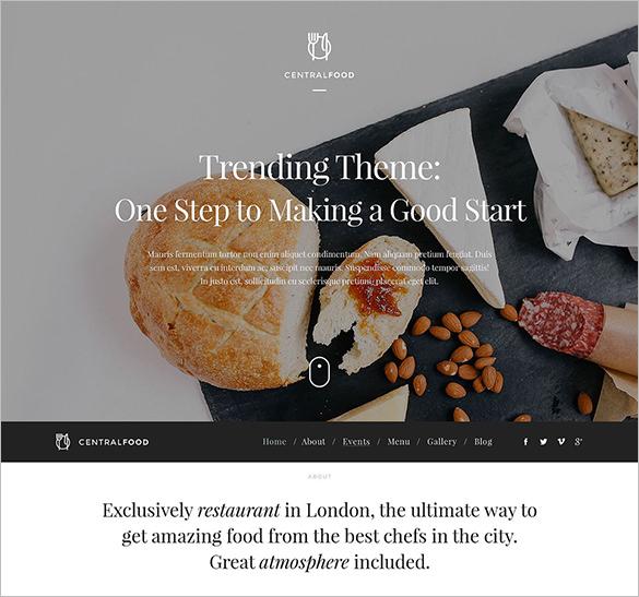 restaurant responsive wordpress blog theme