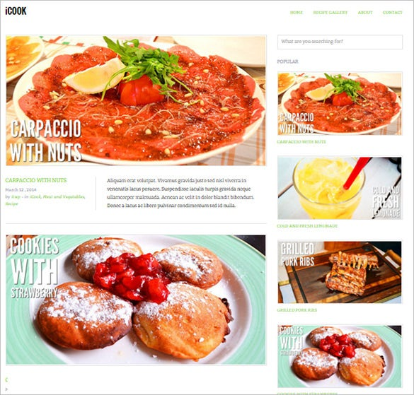 food restaurant blog wordpress theme