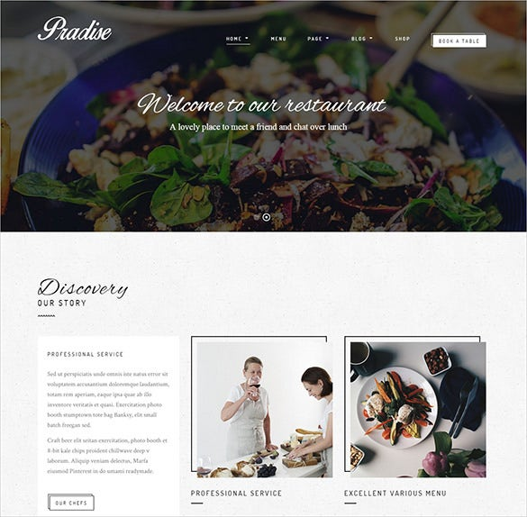 pradise restaurant wordpress blog template