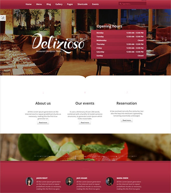 responsive restaurant wordpress blog theme