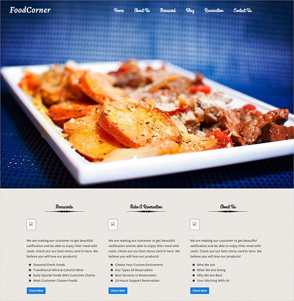 foodcorner restaurant blog theme