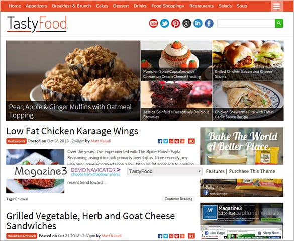 tasty food restaurant blog theme