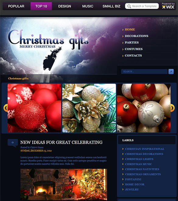 christmas gifts blogger template download