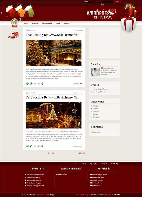 free christmas blogger template